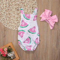 Babyinstar Baby Rompers for Girls Toddler Girls Clothing Watermelon Backless Jumpsuit + Headband 2pcs Outfits Sunsuit for Girls