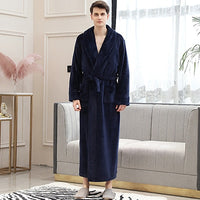 Extra Long Plus Size Winter Warm Coral Fleece Bathrobe Women Men Flannel Dobby Kimono Bath Robe Bridesmaid Dressing Gown Wedding