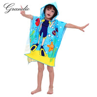 Baby Hooded Bath Towel Poncho Children Kids Bathrobe Towels Bath Robe Quick Dry Absorbent Microfiber Travel Sports Beach Towel
