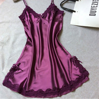 Ladies Sexy Sleepwear Nightgown V-neck Nightdress Slip Nighties Summer Night Dress Lace Night Gown Lingerie For Women