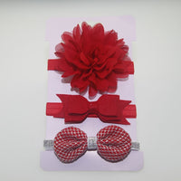 3pc baby girl boy elastic flower headband children skinny stretchy Bowknot elastic hair Band