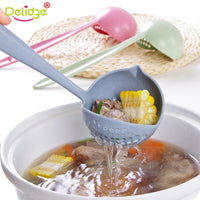 Delidge 2 in 1 Long Handle Soup Spoon Home Strainer Plastic Ladle Strainer Cooking Colander Kitchen Scoop Tableware Tool