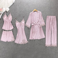Women Pajamas 5 Pieces Sleepwear Pyjama Home Wear Home Clothing Embroidery Sleep Lounge Pyjama with Chest Pads