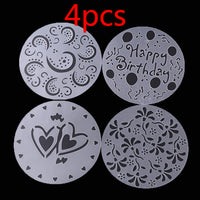 4Pc/lot Plastic Cake Stencils Flower Spray Stencils Birthday Cake Mold Decorating Bakery Tools DIY Mould Fondant Template