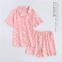 Japanese simple short pyjamas women short sleeves ladies pajama sets shorts Cute cartoon sleepwear women homewear