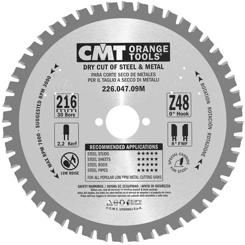 Dry cutt saw blade 216mm 30