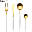 LEKOCH® 4 Pieces Classical Series Gold&White Cutlery
