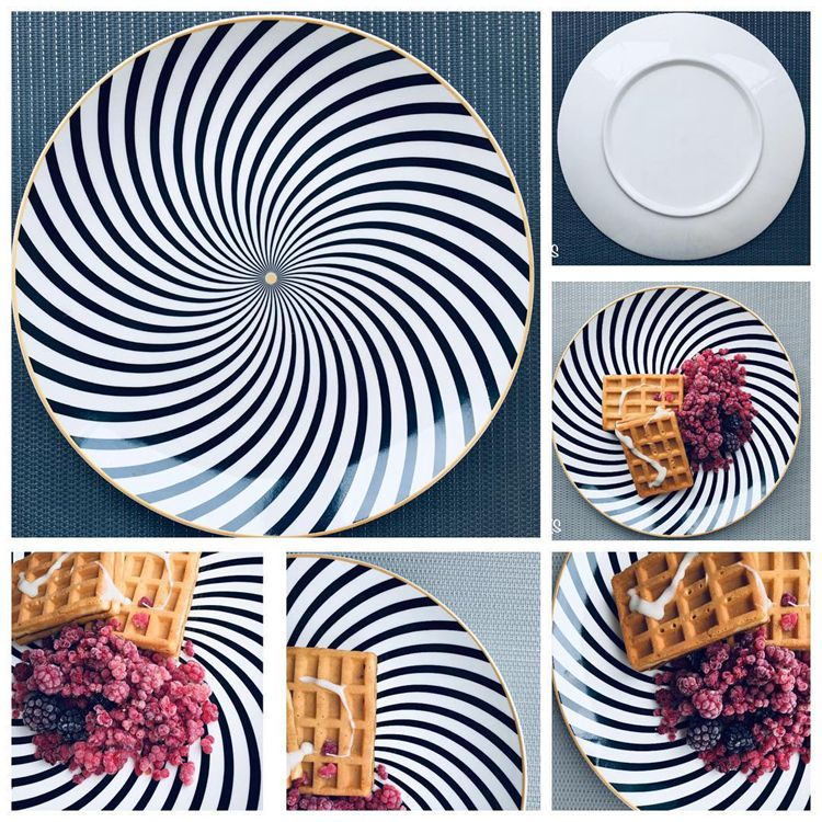 LEKOCH® 6 Pieces 8 /10 inch tableware Phnom penh geometry tableware ceramic Dinner Plate