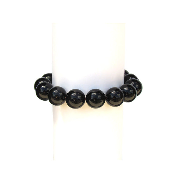 "Grounding, Good Luck & Protection Stretch Bracelet, 14mm Beads Black Obsidian Gemstone, Natural Stone. Unique Gift, Unisex, Ethically Sourced, Fair Trade (Fits 5""-7"" Adult Wrist)"