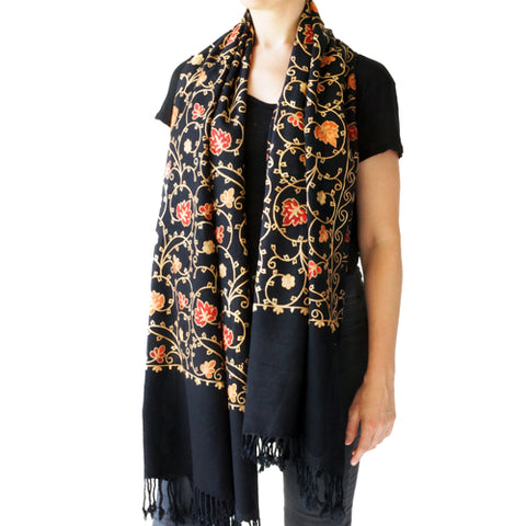 Embroidered Floral Shawl, Oversize Scarf for Women, Warm Wrap for Winter, Large 6.5' x 2.25'