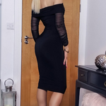 Ruched Mesh Bardot Dress