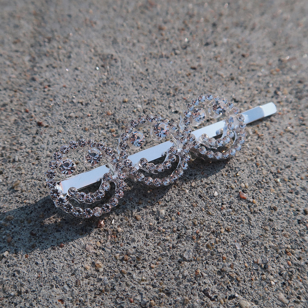 SMILE Silver Diamond Hair Pin