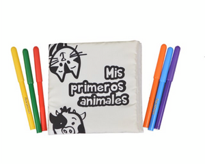 Libro de tela Coloreable Mis primeros animales  - Weekids