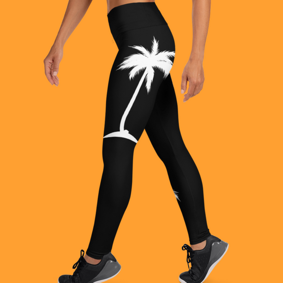 White Palm Tree Yoga Leggings