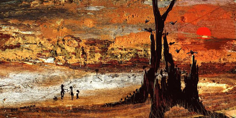 Beyond the black stump.  Australian original art print.