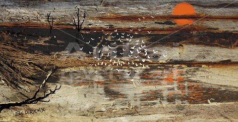 Birds at an waterhole.  Australian original art print.