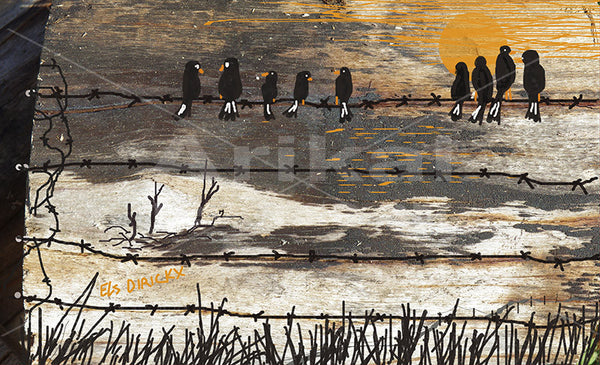 Birds on a fence.  Australian original art print.