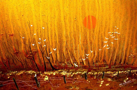 Bright sparks in a sunburnt country 2. Australian original art print.