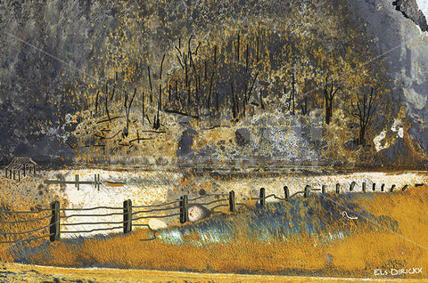 Bushfire at the wetlands.  Australian original art print.