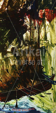 Canoeing in the jungle.  Australian original art print.