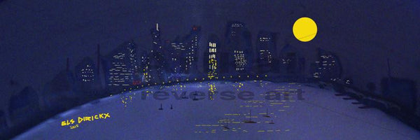 City skyline at moonrise.  Australian original art print.