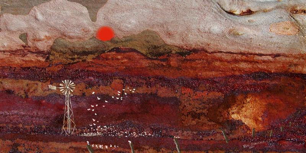 Galah country at sunset. Australian original art print.