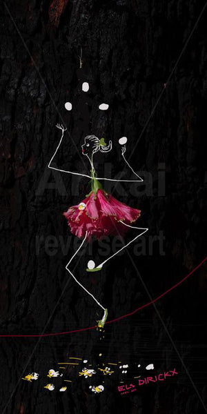 """Juggler on a rope"". hibiscus flower"