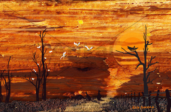 Outback sunset 2. Australian original art print.