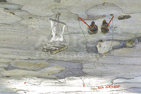 Stranded fisherman with tangled fishing lines. Australian original art print.