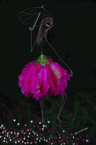 Tip toeing  through the tulips. Umbrella up. Australian original art print.