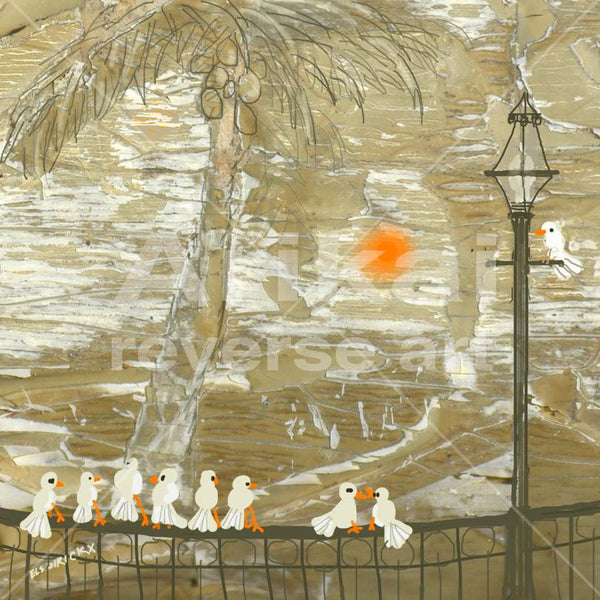 Birds on a balcony.  Australian original art print.