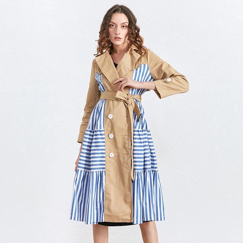 Casual Khaki Blue Trench