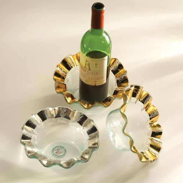 "Annieglass 7 3/4"" Ruffle Wine Coaster Gold"