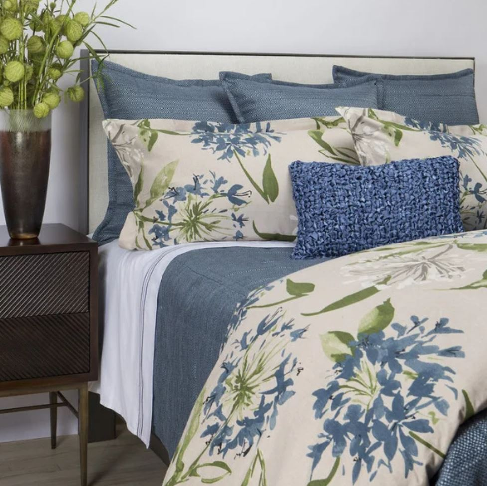 Blue Flora Queen Duvet Cover & Shams Set