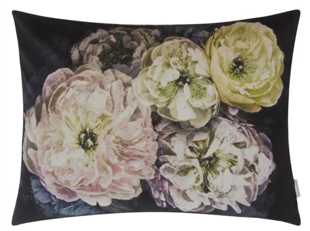 Floral Purple Velvet Decorative Pillow