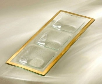 Gold Band Three Section Tray