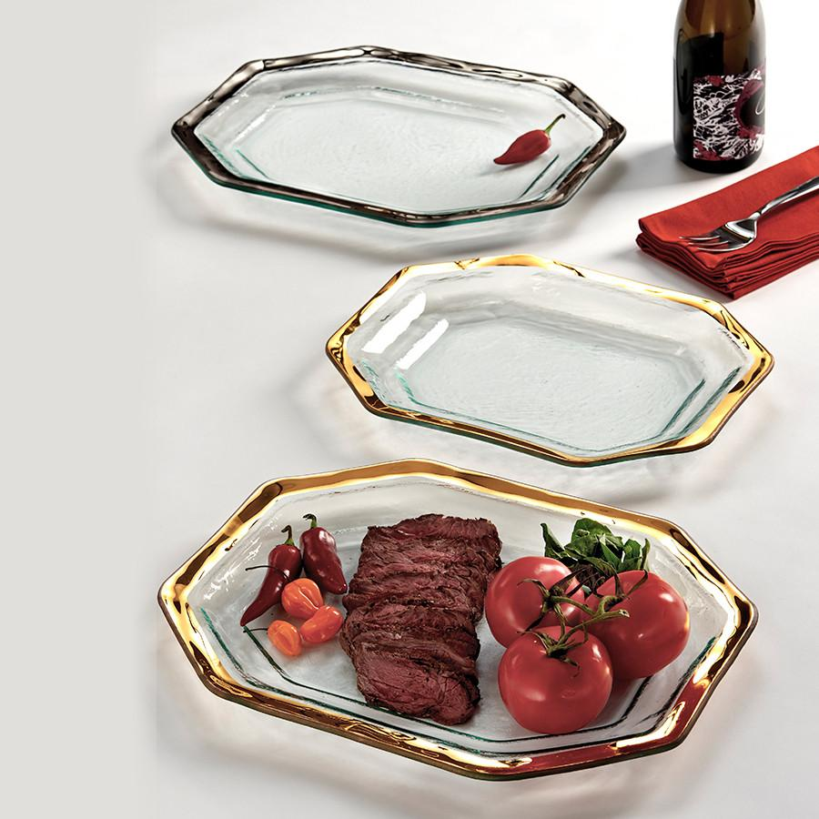 Annieglass Roman Antique Steak Platter