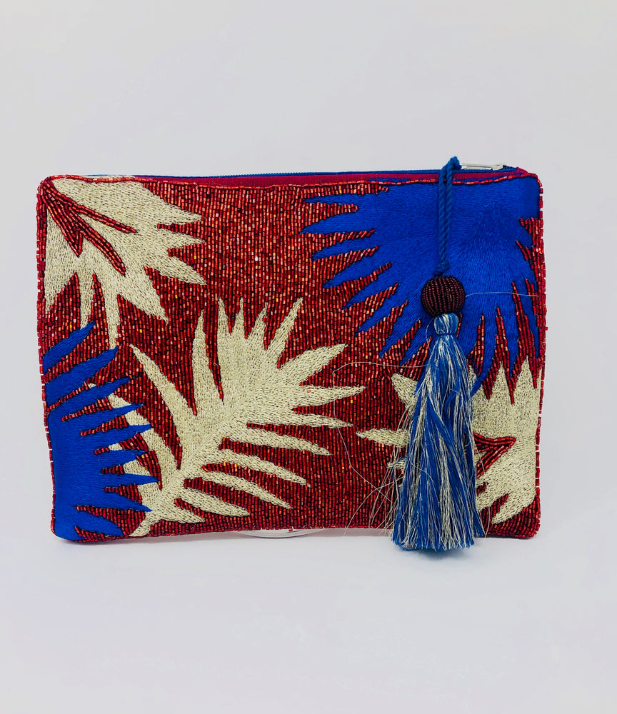 Beaded Palm Clutch