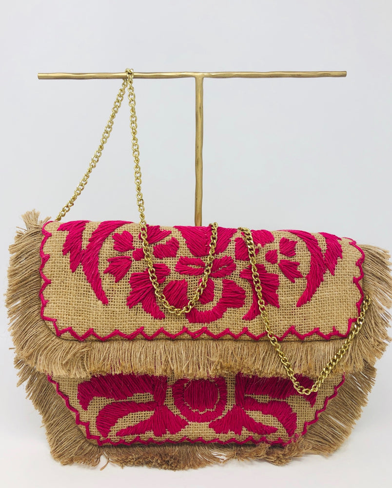 Embroidered Fuscia Purse