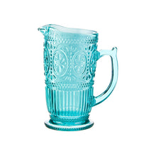 "Load image into Gallery viewer, Beautiful Teal Glass 9 "" PITCHER"
