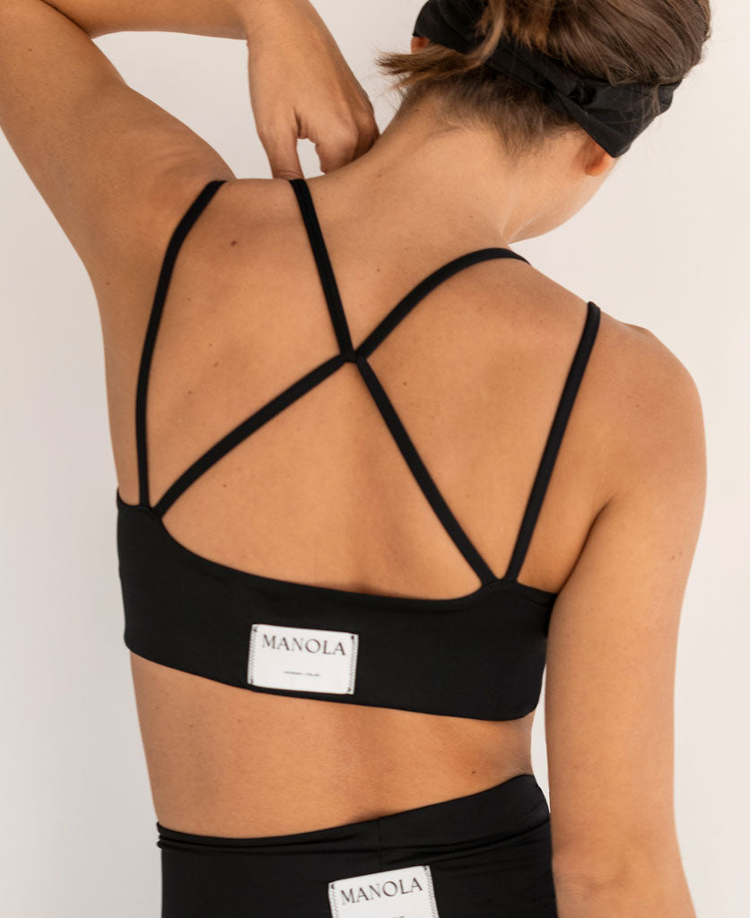 CROSSED BACK TOP BLACK