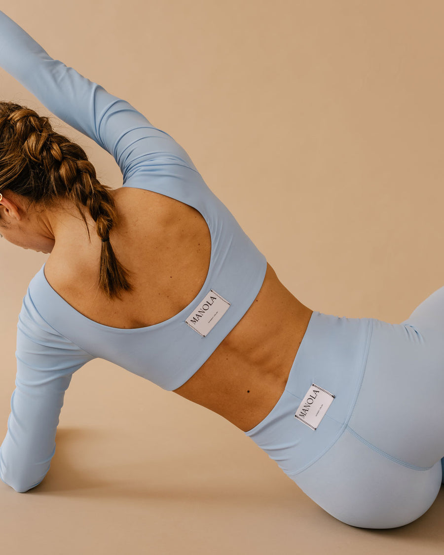 CORE CROP TOP LONG SLEEVE CLOUD BLUE