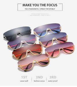 Fashion pearl decor half frame sunglasses - Ibiza Fest Wear
