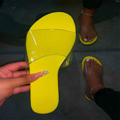 New solid color transparent upper stylish beach flat slippers - Ibiza Fest Wear