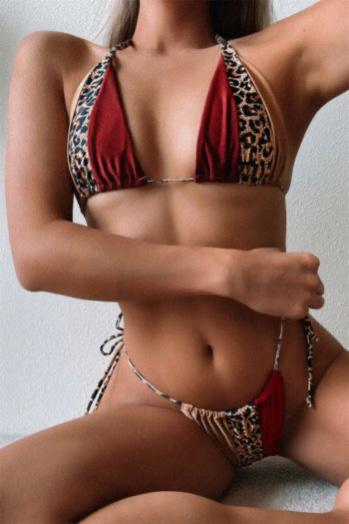 Rouge Red and Leopard Print Panelled Triangle Bikini Set - Ibiza Fest Wear