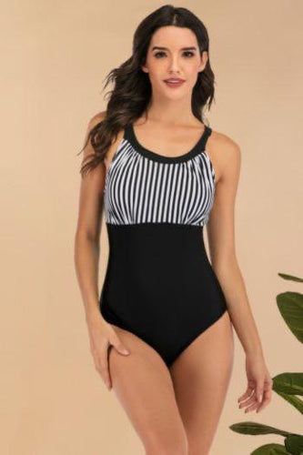 Scoop Neck Black and White Pin Stripe Swimsuit - Ibiza Fest Wear