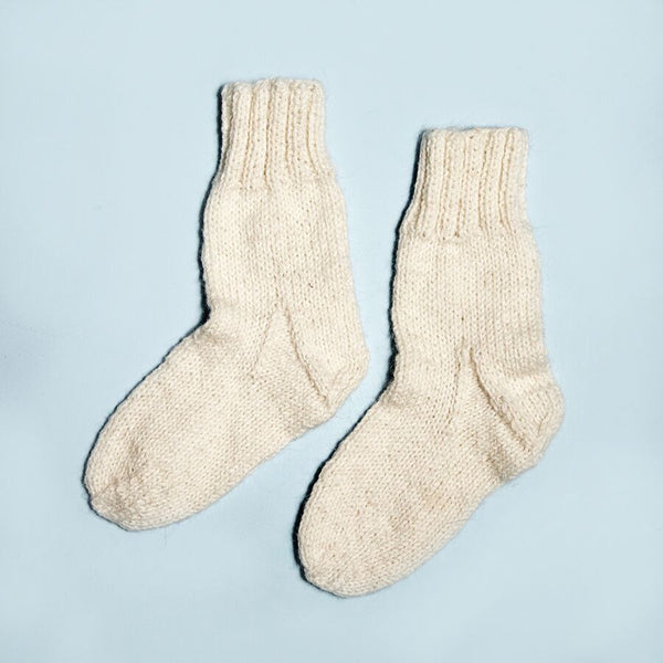 Hand Knitted Ivory Wool Socks