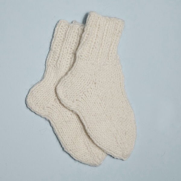 Hand Knitted Ivory Socks