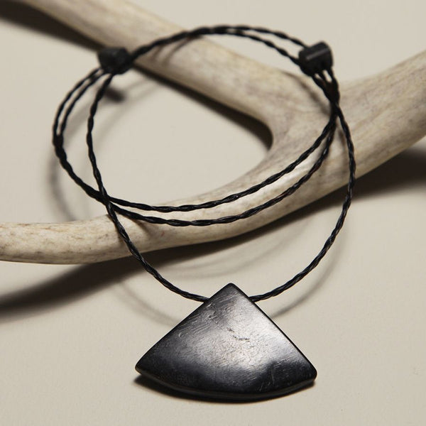 Sheep Horn and Horsehair Pendant