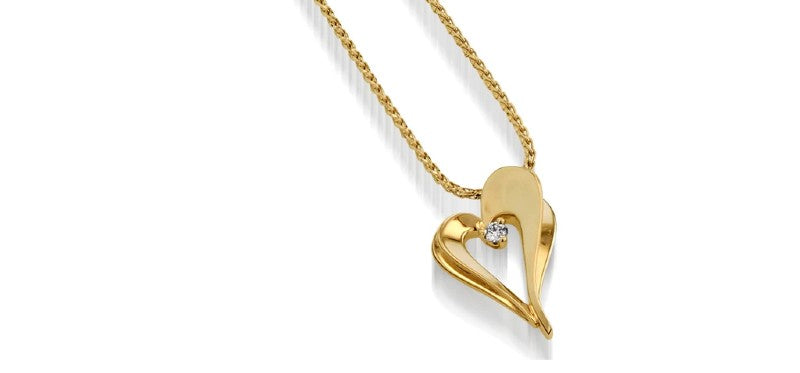 adore petite diamond heart pendant necklace gold jewelry gift for mom